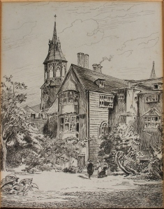 The Lodge, Queens' College pen & ink drawingH Toussaint 1880