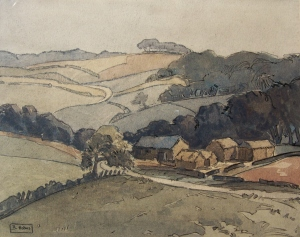 A Yorkshire Valley scene watercolour by Beatrix Holms