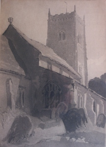 'Barwick in Elmet Church, Yorkshire' Aquatint by Beatrix Holms