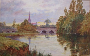 church spire seen from the river - unknown artist