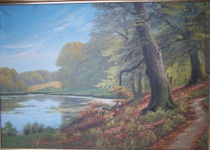 Lakeside sceneby Harald Wentzel - oil painting