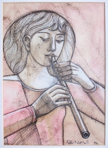 Upon the Flute - pen and ink, crayon, and watercolourPeter Nuttall, 1994
