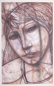 Head of a Girl - pen crayon & washPeter Nuttall, 1979