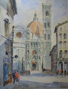 Santa Maria del Fiorewatercolour - signed & titled