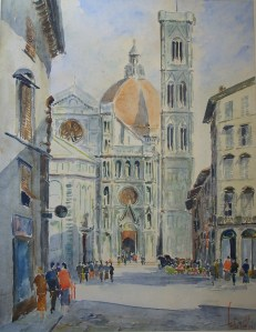 Santa Maria del Fiorewatercolour - signed & titled