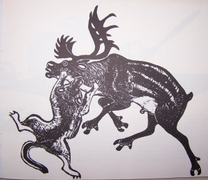 Wolf with Caribou IIIby Tivi Etook