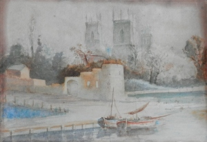 York Minster from the Ouse possibly by George Fall @ 1900