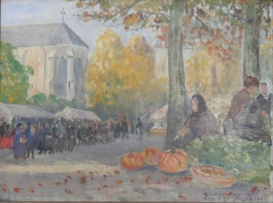 The Pumpkin Seller signed and date 1919