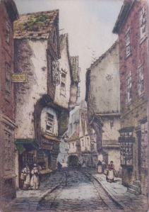 The Shambles etching - coloured by R Herdman-Smith