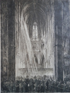 Westminster Abbey initialled FB etching