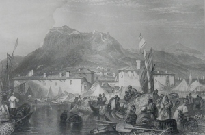 Corinth - Port of Kerkries drawing by JMW Turner E Finden engraving