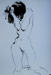 Body Study by Lois Tilbrook brush and ink drawing