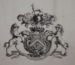 Hatton Coat of Arms engraved by J Cole @ 1738