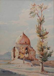 A Holy Place Sumbat Der Kiureghian watercolour - 1947