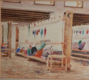 Persian Carpet Weaving by Sumbat Der Kiureghian watercolour - 1947