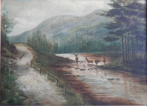 Beside the Road oil painting by H D Hatch Oct 1901