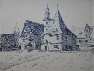 Hegereiterhaus (Gamekeepers ouse) pen and ink drawing by Beckmann @ 1909