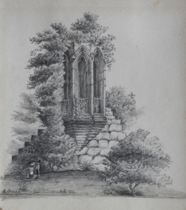 A Ruin Overgrown pencil sketch by E Green