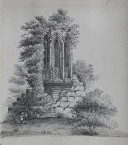 A Ruin Overgrown pencil sketch by E Green