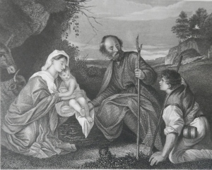 The Holy Family with the Adoration of a Shepherd etched by Joseph Rolls @ 1836