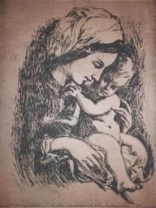 Madonna and Child etching by Gerik Schjelderup