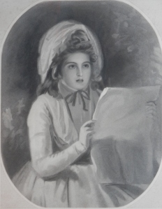 Lady Hamilton as 'Serena' stipple engraving by Francis Holl