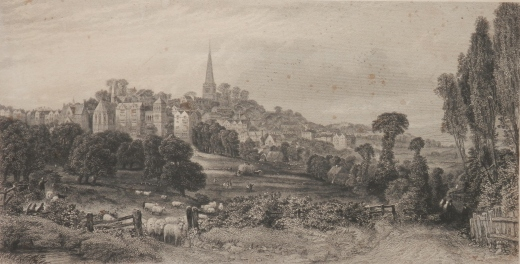 Harrow-on-the-Hill etching by Edward Duncan @ 1840