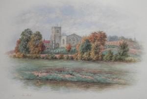 St Peter's Church, Brafferton  watercolour by George Fell