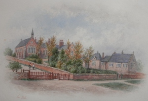 Brafferton Parish School watercolour by George Fall