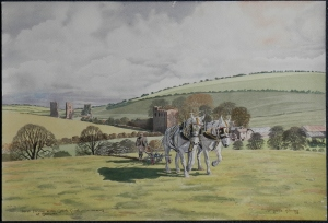 First Furrow with Gentle Giants a memory at Gleaston watercolour by T Leslie Hawkes 1978