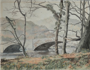 Daffodils at Duddon Bridge watercolour by T Leslie Hawkes 1974