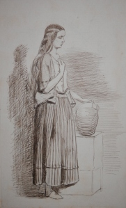 Woman with Jar pen and ink sketch by Joseph Middleton Jopling