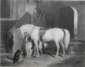 Waiting for Master etching by William Giller after Sir Edwin Landseer published April 6th, 1869