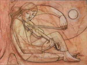 Girl with Violin by Peter Nuttall 1997