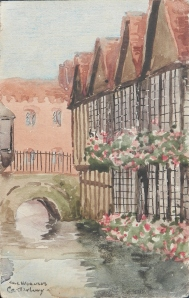 The Weavers, Canterbury postcard painted by Mrs. Hill 1949