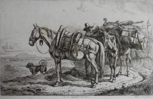 In Der Campagna von Rom etching by Johann Adam Klein @ 1846