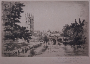 Magdalen College and Bridge  by G Huardel-Bly @ 1929