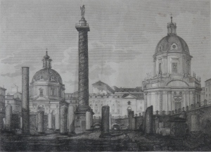 Foro Trejano etching by A Moschetti @ 1843