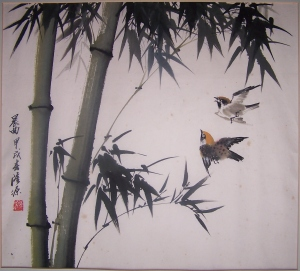 Sparrows in Flight signed