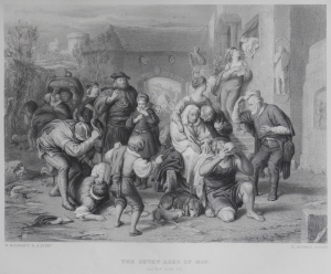 The Seven Ages of Man etching by H Bourne for Virtue's Imperial Shakspere @ 1873