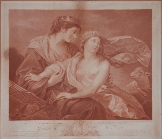 L'Innocence se Refugiant dan les Bras de la Justice stipple engraving by Francesco Bartolozzi after Louisa Elizabeth Le Brun 1783