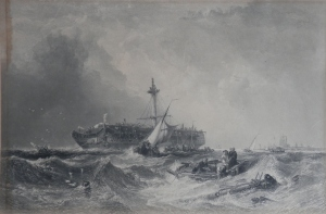 The Morning After the Wreck etching by J Cousen @ 1847