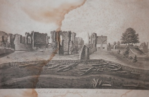 East View of the Ruins of the Abbey of Reading by M Blackamore @ 1759