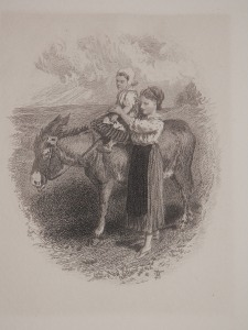 The Ride on the Donkey engraving by Miles Birket Foster