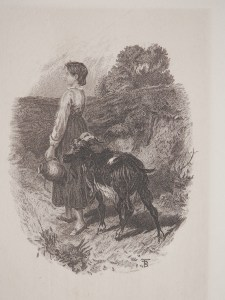 Going to the Well engraving by Myles Birket Foster