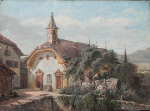 Village Chapel Unsigned/undated - stamp verso @ 1860 to 1885