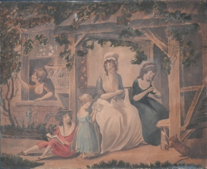 A Family Time 18th Century English School watercolour