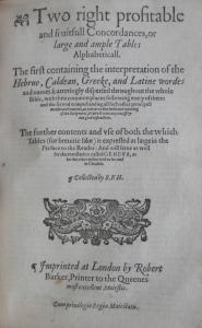 Geneva Bible Concordances @ 1600