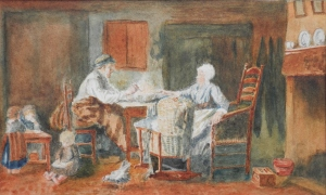 Lunch Around the Table 19th century English School watercolour