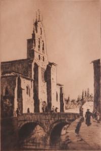 St Lesmos, Bergon, Spain by Lionel Lindsay @ 1926